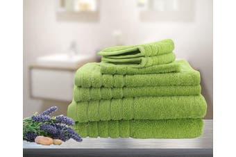 7 Pieces Bath Towels Set Egyptian Cotton 620GSM Spa Quality Multi- Lime
