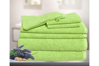 7 Pieces Bath Towels Set Egyptian Cotton 620GSM Spa Quality Multi- Lime Ribbon