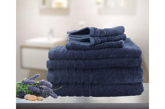 7 Pieces Bath Towels Set Egyptian Cotton 620GSM Spa Quality Multi- Navy Blue