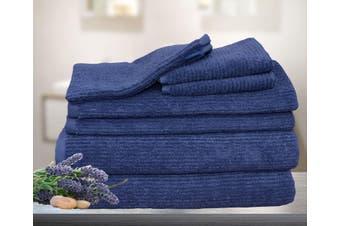 7 Pieces Bath Towels Set Egyptian Cotton 620GSM Spa Quality Multi- Navy Blue Ribbon