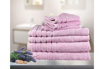 7 Pieces Bath Towels Set Egyptian Cotton 620GSM Spa Quality Multi- Pink