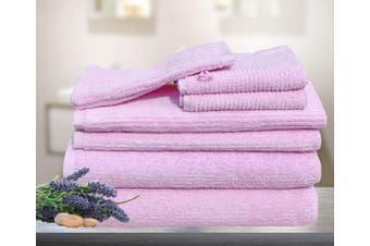 7 Pieces Bath Towels Set Egyptian Cotton 620GSM Spa Quality Multi- Pink Ribbon