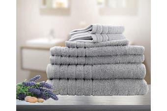 7 Pieces Bath Towels Set Egyptian Cotton 620GSM Spa Quality Multi- Silver