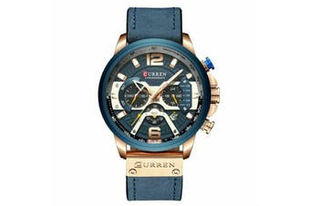 329 CURREN MENS WATERPROOF FASHION DRESS WATCH Water Resistant Gold Military 823-Rose Gold/Blue Strap