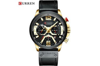 329 CURREN MENS WATERPROOF FASHION DRESS WATCH Water Resistant Gold Military 823-Yellow Gold/Black Strap
