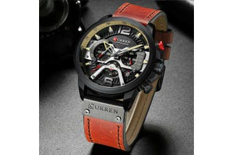 Fashion Mens Dress Sports Watches Quartz Leather Waterproof Luxury Wrist Watch-8329 Black