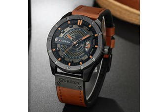 Fashion Mens Dress Sports Watches Quartz Leather Waterproof Luxury Wrist Watch-Color 5#