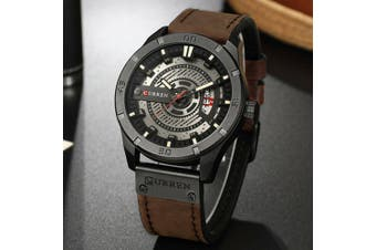 Fashion Mens Dress Sports Watches Quartz Leather Waterproof Luxury Wrist Watch-Color 6#