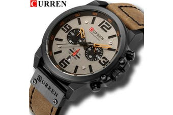 Fashion Mens Dress Sports Watches Quartz Leather Waterproof Luxury Wrist Watch-Color 7#