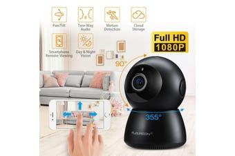 Wireless Wifi Panoramic Night Vision CCTV Home Security IP Camera Two-Way-1080P Black