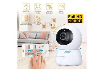 Wireless Wifi Panoramic Night Vision CCTV Home Security IP Camera Two-Way-1080P White