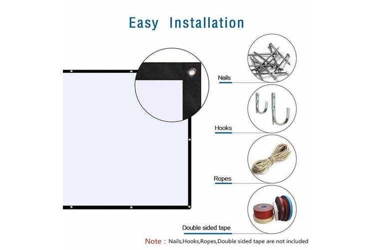 Portable Projector Screen 120 in Home Outdoor Camping 3D HD 16:9 Cinema Theater- 60 inch /4(Ratio)