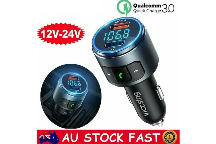 Victsing Wireless Bluetooth Car Kit FM Transmitter MP3 Player QC3.0 USB Charger
