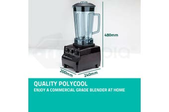 2200W POLYCOOL 2L Commercial Blender Mixer Food Processor Smoothie Ice Crush Black