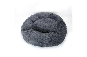 Dog Pet Cat Calming Bed Beds Large Mat Comfy Puppy Fluffy Donut Cushion Plush AU Dark Gray-50cm/S