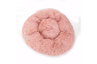 Dog Pet Cat Calming Bed Beds Large Mat Comfy Puppy Fluffy Donut Cushion Plush AU Pink-50cm/S
