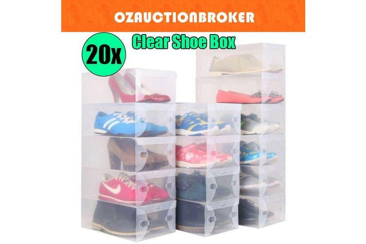 20x Clear Shoe Storage Transparent Box Foldable Stackable Plastic Boxes Organize