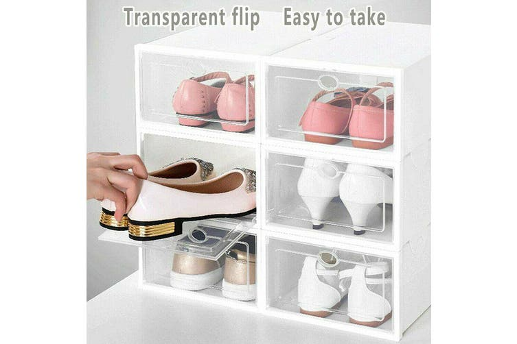 Stackable Foldable Clear Shoe Storage Plastic Cases Drawer Boxes Wardrobe 12 PCS
