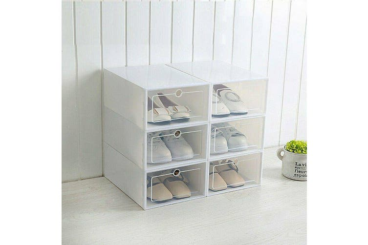 Stackable Foldable Clear Shoe Storage Plastic Cases Drawer Boxes Wardrobe 6 PCS
