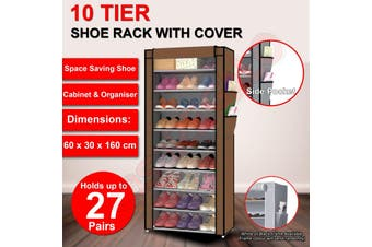 Shoe Rack Stackable Cabinet Storage Organiser Portable Wardrobe With Cover Brown