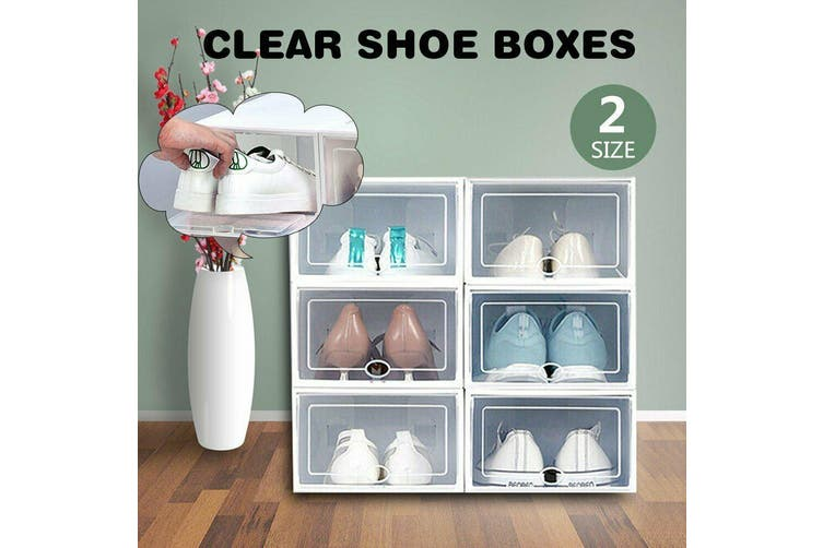Transparent Clear Plastic Shoe Storage Box Foldable Stackable Boxes AU M-6pcs