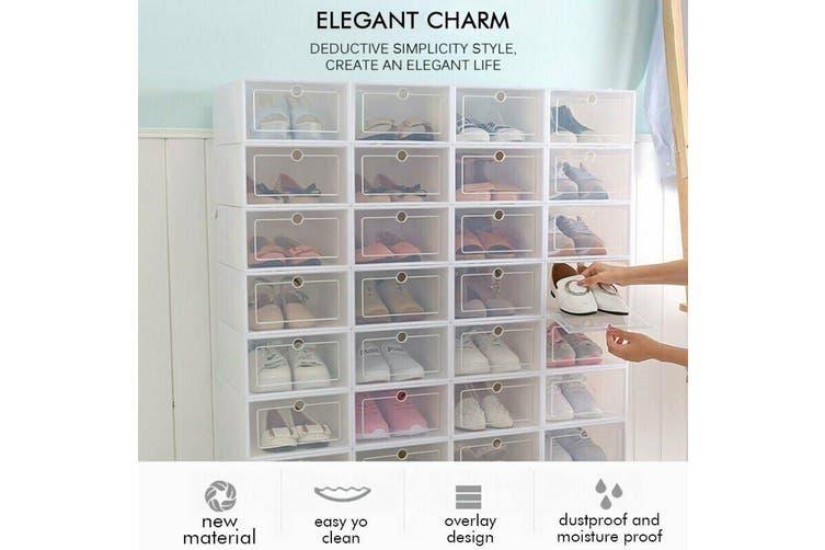 Transparent Clear Plastic Shoe Storage Box Foldable Stackable Boxes AU S-12pcs