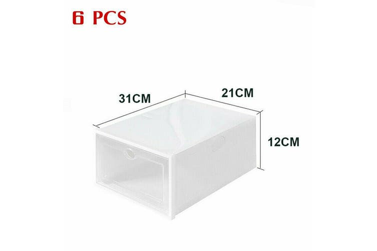 Transparent Clear Plastic Shoe Storage Box Foldable Stackable Boxes AU S-6pcs