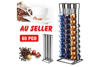 60 Capsules Coffee Pod Holder Tower Stand Dispenser Rack Storage for Nespresso