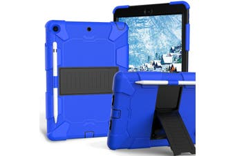"For iPad 7th Gen 10.2"" 2019 Shockproof Heavy Duty Hybrid Rubber Stand Cover-BlueBlack"