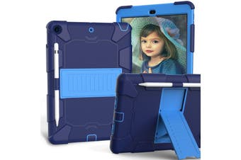 "For iPad 7th Gen 10.2"" 2019 Shockproof Heavy Duty Hybrid Rubber Stand Cover-NavyBlue"