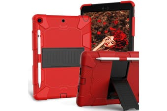 "For iPad 7th Gen 10.2"" 2019 Shockproof Heavy Duty Hybrid Rubber Stand Cover-RedBlack"