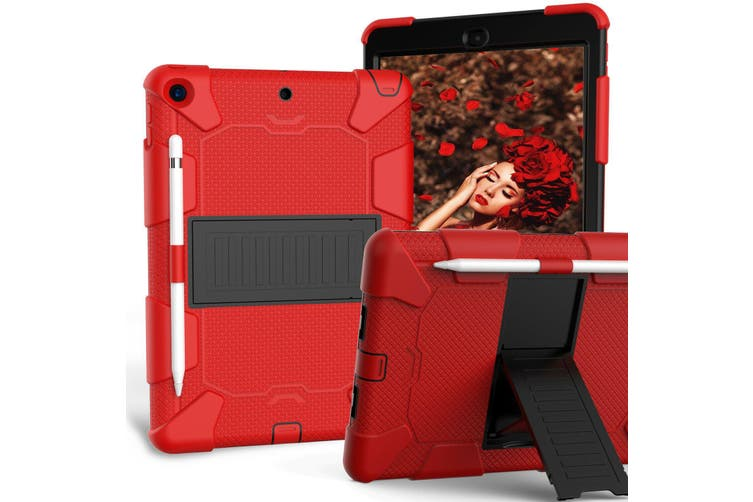 """For iPad 7th Gen 10.2"""" 2019 Shockproof Heavy Duty Hybrid Rubber Stand Cover-RedBlack"""