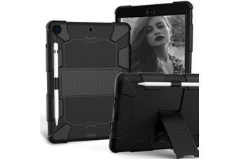 "For iPad 7th Gen 10.2"" 2019 Shockproof Heavy Duty Hybrid Rubber Stand Cover-BlackBlack"
