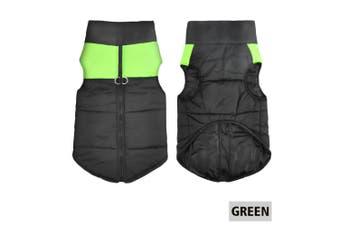 Large Dog jacket padded waterproof Pet Clothes Warm windbreaker Vest Coat Winter-Green-M