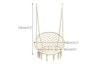 Macrame Hammock Chair Swing Relax Garden Comfort Luxury Shabby Beige Cream