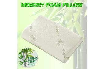 Luxury Soft Contour Bamboo Pillow Memory Foam Fabric Fibre Cover Bed AU STOCK-2 Packs