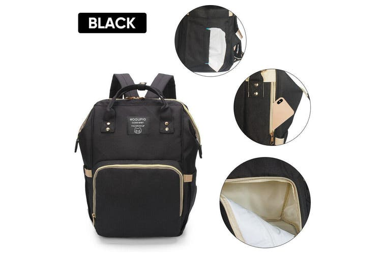 Luxury Multifunctional Baby Diaper Nappy Backpack Maternity Mummy Changing Bag-Black