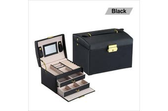 Organiser Case Box Holder Storage Glass Jewelry Earring Ring Velvet Display-black(3 tier)