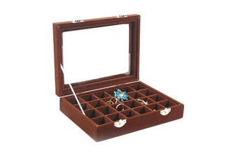 Organiser Case Box Holder Storage Glass Jewelry Earring Ring Velvet Display-coffee