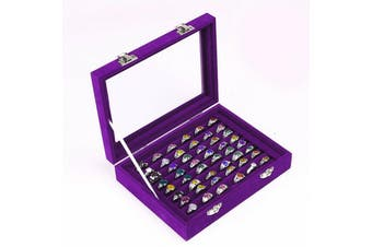 Organiser Case Box Holder Storage Glass Jewelry Earring Ring Velvet Display-purple(ring box)