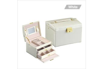 Organiser Case Box Holder Storage Glass Jewelry Earring Ring Velvet Display-white(3 tier)