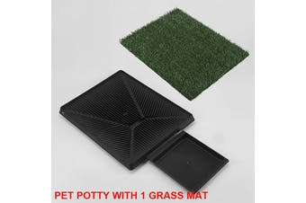 Indoor Dog Training Portable Toilet Loo Pad Tray Pet Potty with 1 Grass Mat