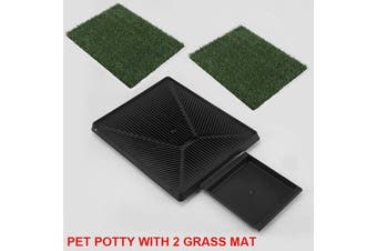 Indoor Dog Training Portable Toilet Loo Pad Tray Pet Potty with 2 Grass Mat