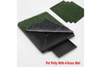 Indoor Dog Training Portable Toilet Loo Pad Tray Pet Potty with 4 Grass Mat