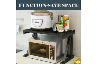 2 Tier Kitchen Shelf Microwave Oven Rack Stand Condiment Storage Cabinet Wooden-Black