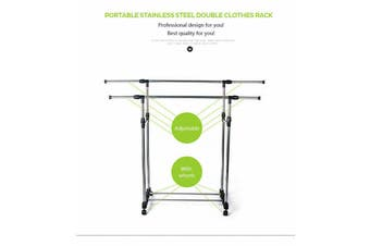Adjustable Garment Holder Clothes Rack Double Stainless Shelf Hanger Coat AU