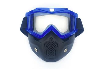 Safety Eye Guard Face Shield Goggles Work Lab Factory Eyewear Protective Glasses-Blue & Clear