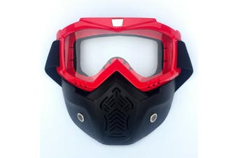 Safety Eye Guard Face Shield Goggles Work Lab Factory Eyewear Protective Glasses-Red & Clear