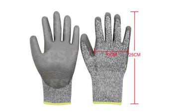SAFETY GLOVES CUT RESISTANT LEVEL 5 ANTI CUT WORK GLOVES HAND PROTECTION -XL (10cm x 25cm)