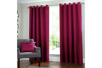 2 Blockout Curtains Eyelet Window Curtain Blackout Draperies Living Room Bedroom 137x230cm-Burgundy